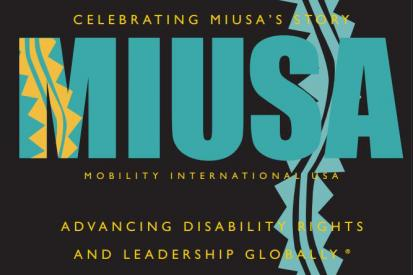 """Book cover of Celebrating MIUSA's Story with graphic stylized text of """"MIUSA"""""""