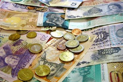 A collection of foreign currency.