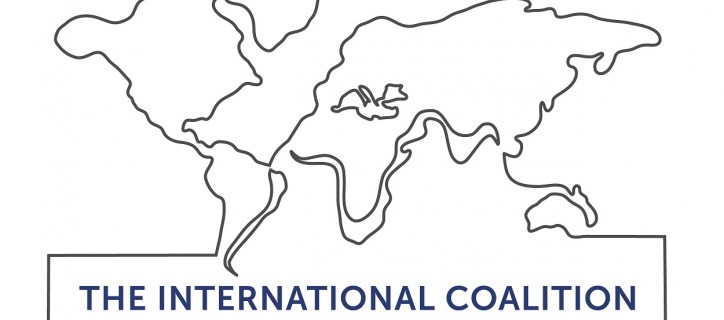 "Artistic drawing of world map with ""The International Coalition"""