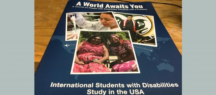 Cover of AWAY journal with 3 photos of international particpants.