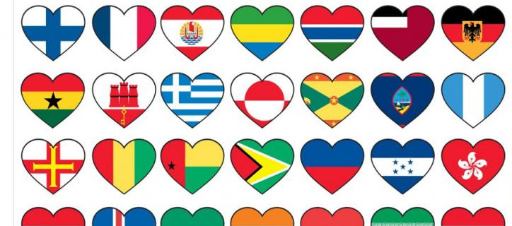 collage of heart-shaped world flags