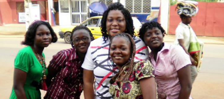 Callie in center of a group of Cameroonian women