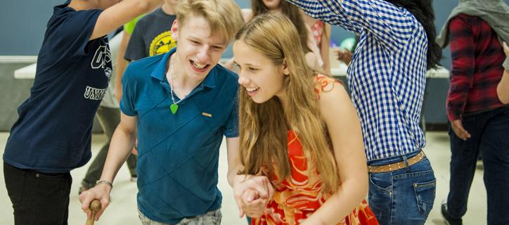 Youth Exchange participants with disabilities try square dancing