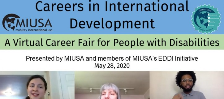 """Title slide with text: """"Careers in International Development"""" and MIUSA logo. Thumbnail Zoom images of MIUSA staff as well as the ASL interpreter."""