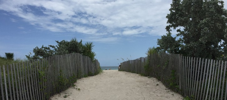 Wooden fence-lined path to a beach under a cloudy blue sky.