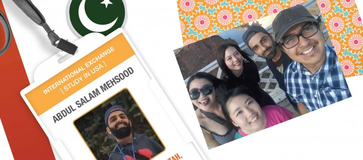 Collage of an ID badge showing Abdul; a group selfie that includes Abdul at Grand Canyon; a sticker of Pakistan flag