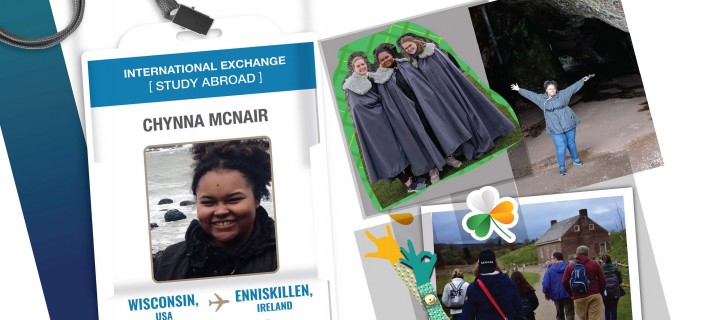 Collage of ID badge showing Chynna; photos of Chynna exploring castles in Ireland; stickers of a shamrock and hands signing in ASL