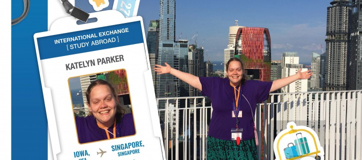Collage of ID badge showing Katelyn; stickers of luggage carts and hotel key; a photo of Katelyn spreading arms before Singapore skyline