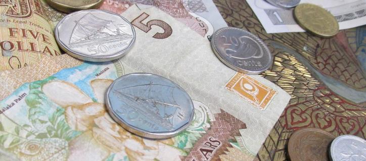 Foreign currency bills and coins
