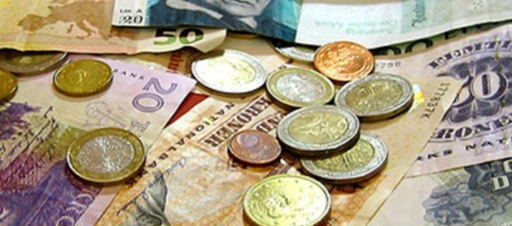 Collection of foreign currency.