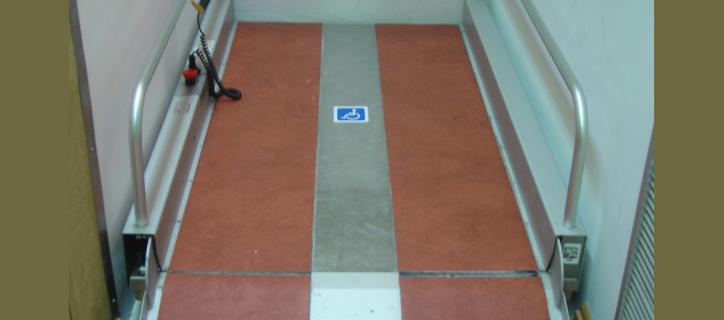 a portable ramp with handrails