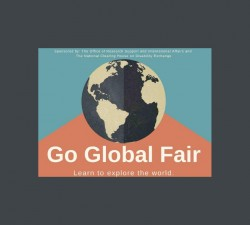 """Image of Globe with text: """"Sponsored by: The Office of Research Support and International Affairs and The National Clearinghouse on Disability and Exchange. Go Global Fair. Learn to Explore the World."""