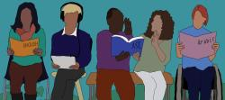 Digital illustration of 5 people reading. Person on left reads a book titled English, person next to them wears headphones and holds a tablet, two people hold a book titled ASL and gesture with their hands, final person reads book titled Arabic and is sitting in a wheelchair.