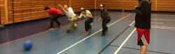Throwing drill of goalball players