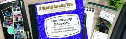 """Purple notebook labeled """"AWAY: Community Colleges"""" on a desk scattered with traveler photos and school supplies"""
