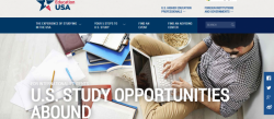 "EducationUSA website snapshot that says ""For International Students: U.S. Study Opportunities Abound"""