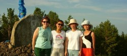Annie stands alongside some of her Mongolian colleagues while on summer vacation together