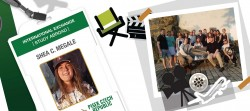 Collage of an ID badge showing Shea; a group photo of Shea and students/actors abroad; stickers of a director's chair and clapboard