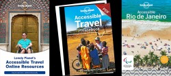 Three Lonely Planet book cover designs featuring Accessible Travel locations and images