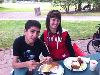 Aram and Karine at lunch