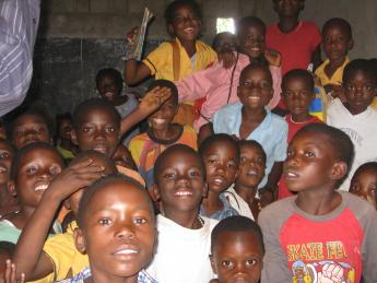 Young Zambian students in a classroom