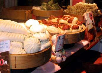 Chinese dumplings at the market
