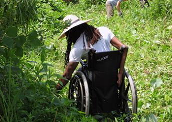 A person who uses a wheelchair working in a garden