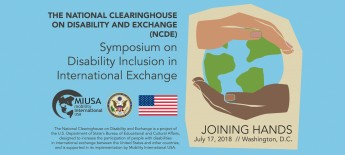 """Joining Hands logo with 2 hands on a globe """"July 17, 2018"""" Symposium on Disability Inclusion in International Exchange"""