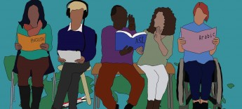 Cartoon-like illustration of five individuals seated in chairs or wheelchairs reading books labeled with different languages
