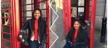 Two side by side images of Johileny in the entrance of a red phone booth; in one photo she uses a cane; in the other, she uses a wheelchair