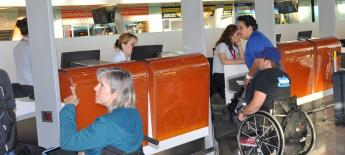 Wheelchair users at the airline ticket counter