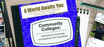 "Purple notebook labeled ""AWAY: Community Colleges"" on a desk scattered with traveler photos and school supplies"