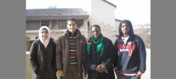 Group photo with Francis and three friends