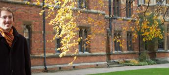 Dwight Richardson Kelly dressed warmly on fall day at Oxford