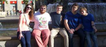 Tyler Clark at fountain in Valencia Spain with friends