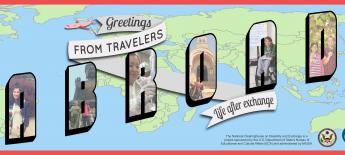 "Stylized bubble letters read ""Greetings from Travelers Abroad: Life after exchange"" with images of travelers with disabilities filling in the letters of 'Abroad"""
