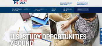 """EducationUSA website snapshot that says """"For International Students: U.S. Study Opportunities Abound"""""""
