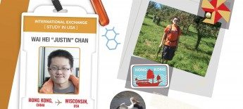 Collage of an ID badge showing Justin; a Hong Kong stamp; sticker of a pelican; photo of Justin in an orchard