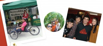 Collage of photos showing the same international student sitting in an adaptive bicycle at an AccessAbility Student Union; and hugging friends