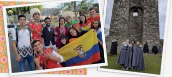 Two photos side by side; one is a group photo of young men and women wearing diverse traditional dress and holding flags; the other shows three young women wearing capes before a Celtic castle