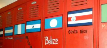 Country flags on lockers in a school