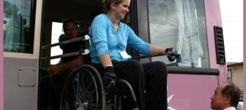 Wheelchair lift in a chartered bus overseas